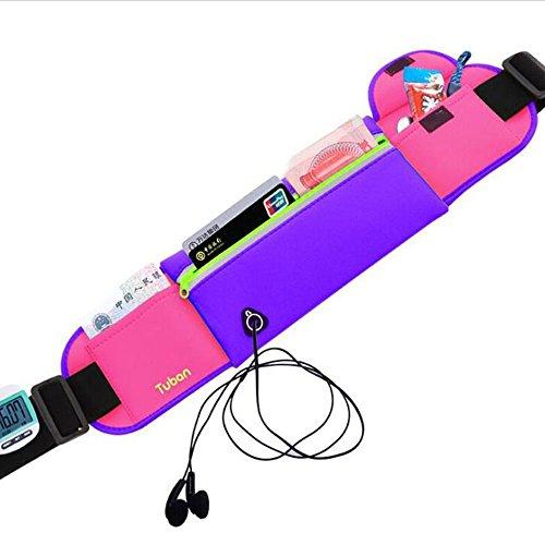 uhbgt Running Gürtel, Sport Jogging Reißverschluss Taille Tasche Gürtel Hip Fanny Diebstahlschutz Handy Pack für Running Biking Violett
