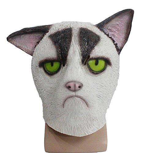 aske Kopfgeschirr Parodie Lustige Tier Cap Halloween Cos Comet Cap Perücke Zeigen Maske,WhiteCat-OneSize ()
