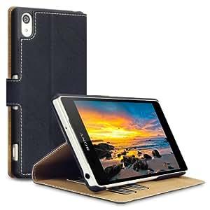 Terrapin Leder Tasche Case Hülle im Bookstyle mit Standfunktion Kartenfächer für Sony Xperia Z2 Hülle Schwarz