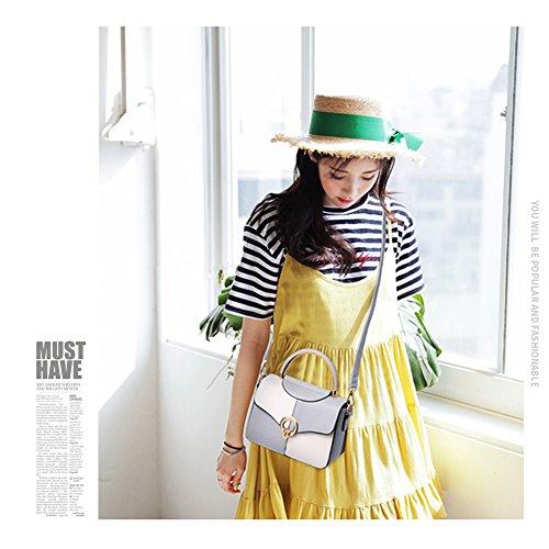 Yoome Contrast Colour Flap Bag Manico Arcuato Womens Messenger Bag Crossbody Cinturino Borse Per Ragazze - Bianco arancia