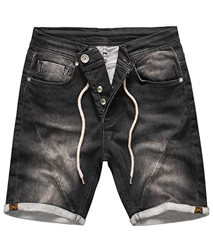 Rock Creek Herren Sweat Shorts Jeansshorts Denim Short Kurze Hose Herrenshorts Sommer Sweatshort Stretch Bermudas Dunkelgrau RC-2200 Anthrazit W40 - 5-pocket Rock