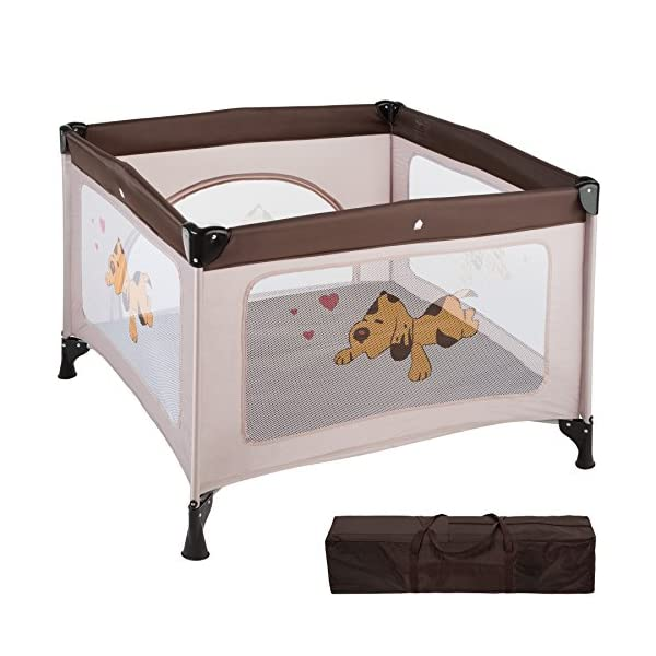 TecTake Portable Child Baby Infant Playpen Travel Cot Bed Crawl Play Area new - different colours - (Brown Coffee | No. 402207)  Only the best for my baby: Our high-quality manufactured baby playpen is excellently suited to play, crawl around and to sleep. // Total dimensions: (LxWxH): 105 x 105 x 78 cm. As it is especially space-savingly collapsible, you won't only use it at home but also when travelling. // Dimensions collapsed (LxWxH): approx. 94 x 20 x 20 cm. The side elements are furnished with breathable mesh-textures, so that you can always keep an eye on your little darling. In addition, the playpen has a padded sleep mat and thus serves as a small travel cot. 1