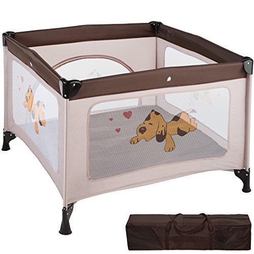 TecTake Box per gioco e nanna lettino da viaggio reticolato campeggio bambini bebé - disponibile in diversi colori - (Marrone Caffè | No. 402207)