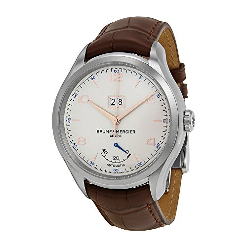 baume-et-mercier-clifton-automatic-siver-dial-brown-leather-watch-moa10205