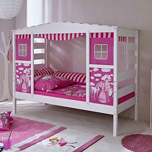 *Mädchen Kinderbett in Weiß Rosa Prinzessin Design Pharao24*