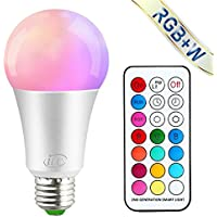 iLC Colour Changing Light Bulb Dimmable 10W E27 Edison Screw RGBW LED Light Bulbs Colour Changing Lights, Mood Light RGB White Coloured- Dual Memory - 12 Color Choices - Remote Controller Included
