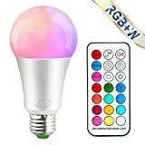 iLC Bombillas Colores RGBW LED Bombilla Regulable Cambio de Color Edison 10W E27 - RGB 12 Color - Control remoto Incluido para Casa/ Decoración / Bar / Fiesta / KTV Ambiente Ambiance Iluminación