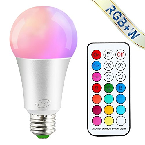 iLC Farbige Leuchtmittel LED RGBW Lampe Dimmbare Farbige Leuchtmitte Lampen 10W E27 Edison RGB LED Birnen - Dual Memory - 12 Farben - Kabellos Fernbedienung inklusive