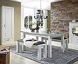 lifestyle4living Esstisch, Esszimmertisch, Küchentisch, Küchenesstisch, Pinie, weiß, Ausziehtisch, erweiterbar, ausziehbar, Holztisch, Taupe, Struktur
