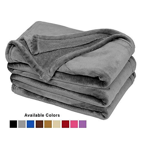 Couvre lit ou canapé-lit en fausse fourrure - Doux, Polyester, gris, Double(190x230cm)