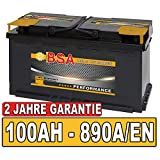 Autobatterie 100Ah Starterbatterie ersetzt 90Ah 92Ah 95Ah (890A Kaltstartleistung)