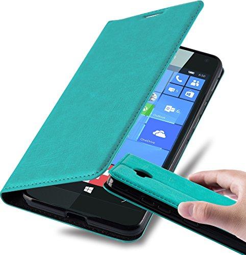 Cadorabo Hülle für Nokia Lumia 650 - Hülle in Petrol TÜRKIS - Handyhülle mit Magnetverschluss, Standfunktion & Kartenfach - Case Cover Schutzhülle Etui Tasche Book Klapp Style