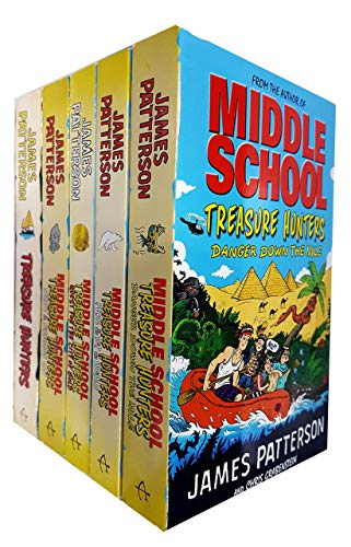 Middle School Treasure Hunters Series Collection 5 Books Set by James Patterson (Treasure Hunters,Danger Down the Nile,Secret of the Forbidden City,Peril at the Top of the World..