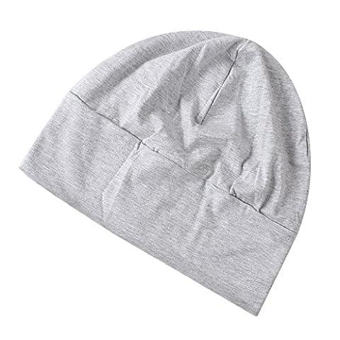 Bonnet Homme Gris - Bonnet de Nuit Coton Multiusage avec Masque