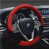 Winter 38cm Premium weiches kurzes Fell Auto Lenkrad Abdeckung High-Density-warmes Plüsch Lenkrad Protector Abdeckung rot
