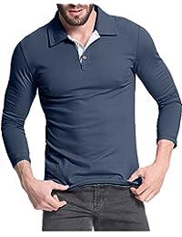 StyleDome Hombres Camiseta Mangas Largas Algodón Deporte Oficina Botón Cuello V Pico