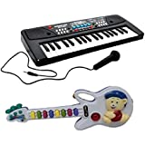 Combo Of 37 Key Piano Keyboard Toy With DC Power Option, Recording And Mic With Mini Musical Guitar Toy For Kids