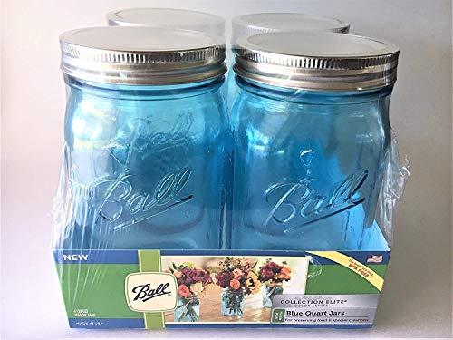 Ball Mason jar-32oz Aqua Blau Glas Ball Collection Elite Color Series breit mouth-set von 4Gläser