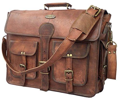 DHK 45,7 cm handgemachte vintage Leder Messenger-Tasche für Laptop Aktentasche Best Computer, Schule Distressed Tasche (Leder Distressed Bag Messenger)