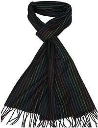 Lovarzi Kaschmir Männer Schal Schwarz - Gestreifter Schal für Herren - Hergestellt in Großbritannien