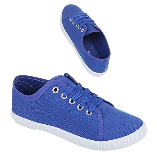 Ital-Design Damen Schuhe, C-34, Freizeitschuhe Schnür Halbschuhe Blau