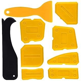 Kuuqa Silicone Sealant Scraper Smoothing Tool Caulking Tool Kit Grout Finishing Tools for Bathroom Kitchen Room,Set of 9