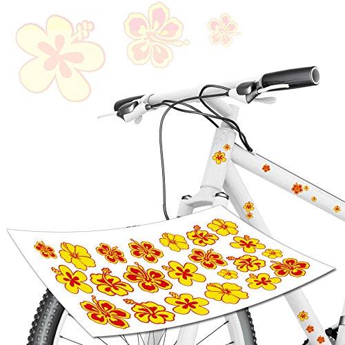 Blumen Aufkleberset für Fahrrad Kids Edition mit roten und gelben Blumen Fahrradaufkleber