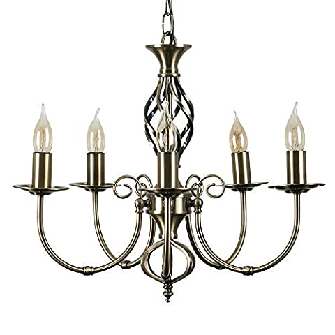 Traditional Style Antique Brass Barley Twist 5 Way Ceiling Light Chandelier