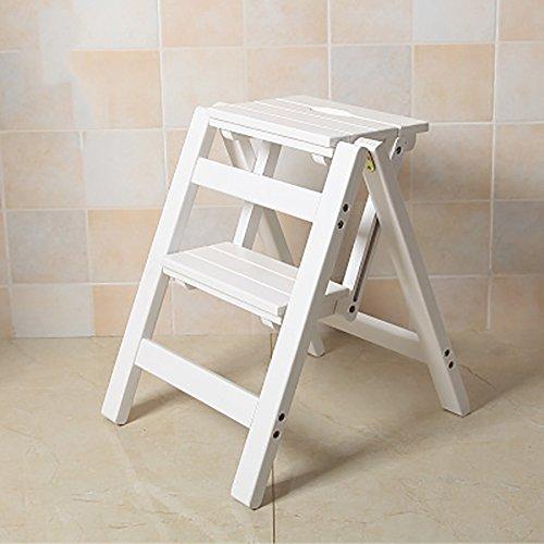 Sgabello per scale ZCJB Sgabello Ladder In Legno Massello Sgabello Scaletta Pieghevole In Legno A Due Gradini Da Cucina Sgabello A Tre Livelli Con Scala A Doppio Uso passo sgabello (Colore : Bianca)