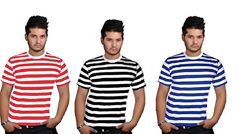 Angies Mens Stripped Top Shirt Stag Do Fancy Dress short Sleeve Cotton Stripe T-shirts