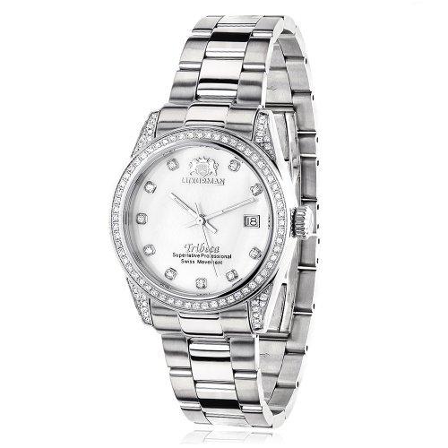 LUXURMAN 2481 - Reloj para mujeres, correa de acero inoxidable color plateado