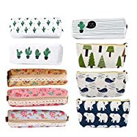 9pc Assorted Pen Bag Pencil Case, Creatiees Forest and Animal Theme Canvas Design|Cactus Canvas Design|Flower Floral Canvas Design, Pen Holder Stationery Pencil Pouch Cosmetic Bags