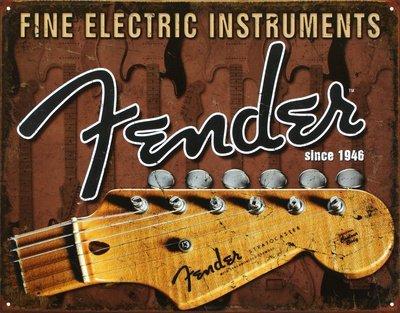 Feine Elektrische Instrumente Fender Gitarre Distressed Retro Vintage Blechschild-32x 41cm (Elektrische Fender-gitarre Bei)