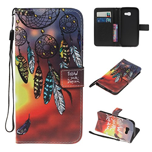Samsung Galaxy A3 2017 Hülle Case, Cozy Hut Retro Painted Muster Prägung Ledertasche Slim PU Leder Bookstyle Handyhülle Tasche Flip Wallet Case mit Strap Portable Handytasche Anti-Scratch Shell Cash Pouch ID Card Slot Magnetverschluss Etui Soft Silikon für Samsung Galaxy A3 2017 Ledertasche Tasche Handyhülle Schutzhülle Cover Etui Handycase Wallet mit Standfunktion - Campanula