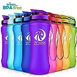 ZORRI Sport Trinkflasche auslaufsicher, BPA Frei & Umweltfreundlich Wasserflasche Für Kinder & Frauen, One Handed Open & Tritan, Für Gym/Outdoor/Camping - Lila - 600ml