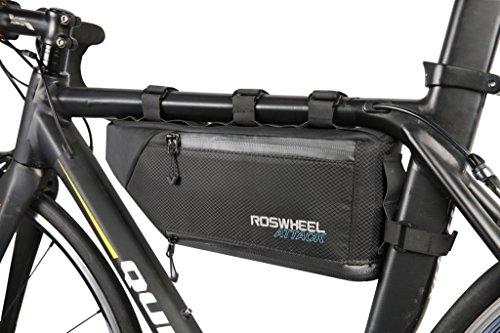 TOFERN Rahmentasche Regenschutz Klettverschluss Zur Befestigung Fahrradtasche Mit Reflektorstreifen Lenkertasche, dunkelblau