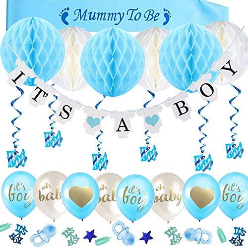 o Mädchen und Junge mit IT'S A Girl und It's A Boy Banner, 6pcs Honeycomb Balls, Mummy to be Schärpe, Hängende Wirbel, 15pcs Luftballons und Babyparty Konfetti ()