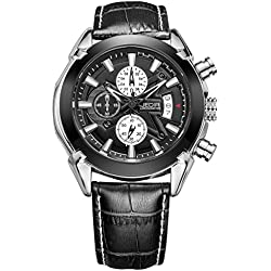 YPS Men Fashion Casual Movement Alloy Leather Band Calendar Display Quartz Wrist Watch WTH5319