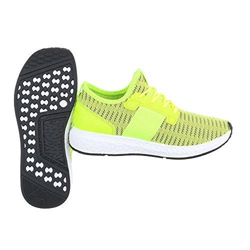Freizeitschuhe Geschlossen Schnürsenkel Sneakers Damenschuhe Ital Sportschuhe Neongrün design 5YqHTwAA