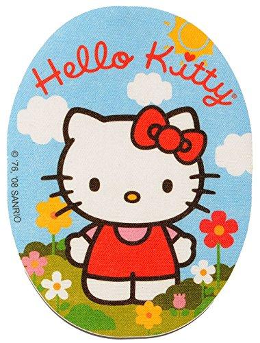 """Preisvergleich Produktbild Bügelbild / Textil Sticker - """" Hello Kitty - mit Blume """" - 8 cm * 11 cm - Aufnäher / Aufkleber - Applikation - Katze / Kätzchen - gewebter Flicken oval - Jungen & Mädchen - Bügelflicken / Hosenflicken - Bügelsticker / Textilien"""