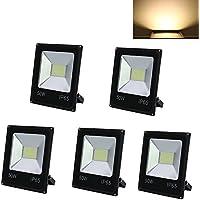 HG® 5X 50W Blanco Cálido Foco proyector LED Lámpara Exterior Resistente al agua IP65