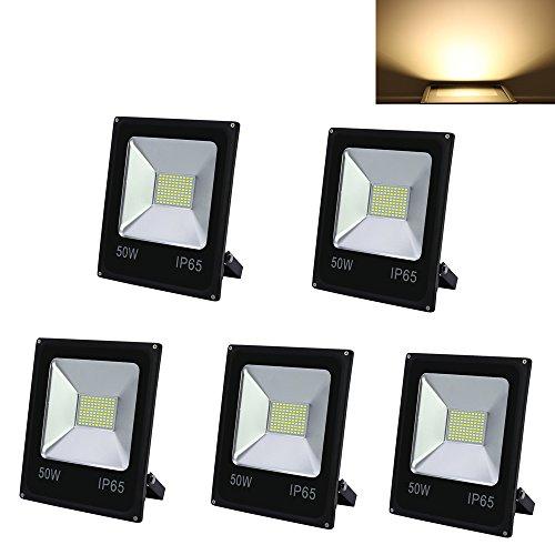 HG® 5 Stück 50W LED Fluter SMD Strahler Außenleuchte IP65 Wasserdicht Warmweiß Beleuchtung Fassadenstrahler Leuchtmittel [Energieklasse A++]