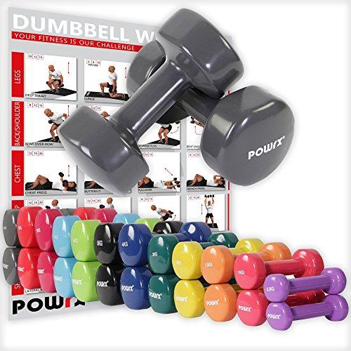 POWRX - Mancuernas Vinilo 20 kg Set (2 x 10 kg) + PDF Workout (Gris Os