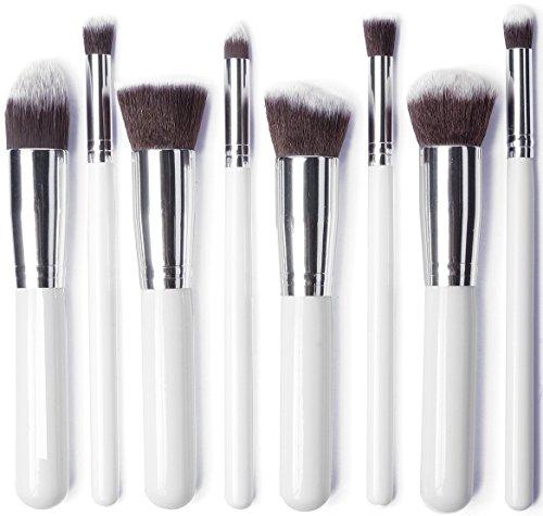 JVJ 8PCS Kit de Pinceau maquillage Professionnel Ombre à Paupière blanc Blush Fondation Pinceau Poudre Fond de teint Anti-cerne Kit Pinceaux