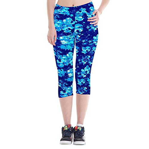 iBaste Leggings de Sport Femme imprimé Jogging Yoga Pantalons Taille Haute Capri Style 11