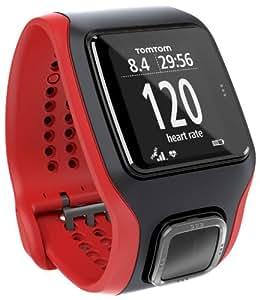 TomTom Multi-Sport Cardio Orologio GPS con Cardiofrequenzimetro Integrato, per Corsa Outdoor e Indoor, Bici e Nuoto, Rosso/Nero