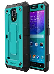 Note 4 Case, Galaxy Note 4 Case, E LV Galaxy Note 4 Case - SHOCK ABSORPTION / HIGH IMPACT RESISTANT Full Body Hybrid Armor Protection Defender Case Cover for Samsung Galaxy Note 4 with Screen Protector - TURQUOISE / BLACK