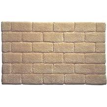 Hug Rug Bamboo Brick 100% Organic Cotton Bathroom Mat, Latte, 60 x 100 Cm