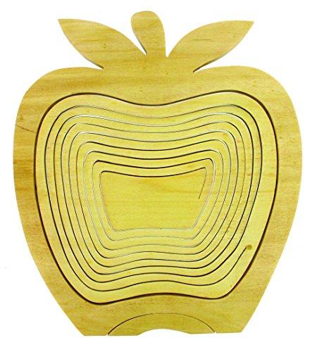 Corbeille à Fruits Pliable & Dessous de Plat en Bois d'Hévéa - Design Pomme
