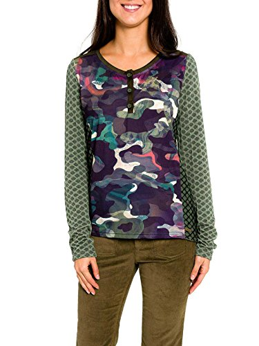 SMASH Diagonal Camiseta Manga Larga Militar-A1613336, T-Shirt Femme Verde militar
